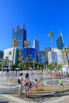 Cool off at the new BHP Billiton Water Park at Elizabeth Quays.