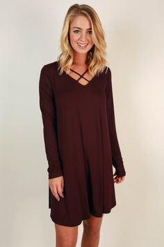 LA Night Life Shift Dress in Maroon with criss cross cut out neckline