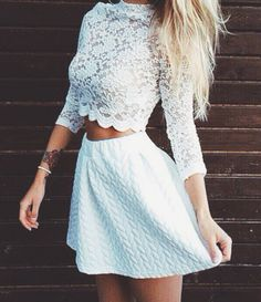 lace crop top + skater skirt #bobi