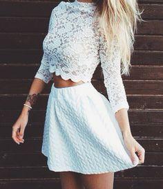 lace crop top + skater skirt #bobi