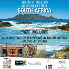 Win a 12 day trip-of-a-lifetime in sensational South Africa Upload your best travel photo, give it a catchy caption and encourage your friends to vote for you for a chance to win a $13,167 luxury holiday in South Africa.  http://woobox.com/767kb3 #southafrica #win #competition #travel #safari #prize #africa #holiday #vacation