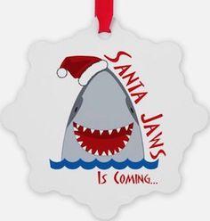 "This funny Christmas tree ornament shows a shark wearing a Santa hat and the text ""Santa Jaws Is Coming. Baby Shark Christmas, Funny Christmas Tree, Creative Christmas Trees, Christmas Humor, Christmas Crafts, Christmas Ornaments, Christmas Wreaths, Merry Christmas, Xmas"