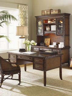 Woven Rattan Desk with Cane Accents | Sligh Home Office