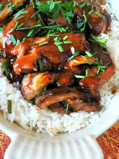 Crock Pot Teriyaki Chicken - Made this for dinner tonight.  Served it over brown rice.  Oh, my goodness!!!  AWESOME!!!!  I used 5 large boneless, skinless chicken breasts instead of 12 thighs.  PERFECT!!!