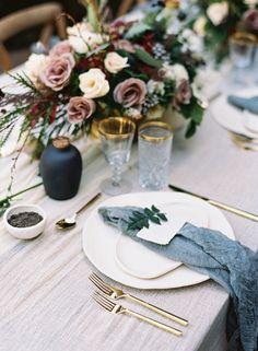 mesa menú centro de flores