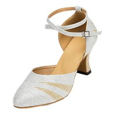 TDA Womens Chunky Mid Heel Glitter Silver Latin Dance Shoes Tango Jazz Salsa Shoes 10 M US >>> Want additional info? Click on the image.