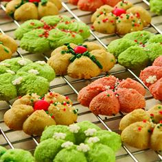 Packaged sugar cookie dough makes these Sugar Spritz Cookies a breeze. And food coloring adds a festive touch before these treats are out of the bowl. Let the kids help sprinkle on the decorations. Spritz Cookie Recipe, Spritz Cookies, Sugar Cookies Recipe, Yummy Cookies, Cookie Recipes, Dessert Recipes, Bar Recipes, Baking Recipes, Goodies