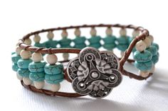 "Wildflower single wrap leather bracelet ""Turquoise & Cream"", beachy, boho chic, bohemian bracelet"