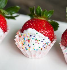 The perfect finger dessert for any occasion: Champagne Soaked Strawberries. In a Mason Jar, one of my very favorite household items, soak for 20 to 24 hrs. Remove & pat dry w- a paper towel. Dip them in Betty Crocker whipped frosting, or maybe some dark chocolate. Use a butter knife to help coat the sides.  Sprinkle and place in mini-cupcake liners.