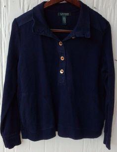 Rare Ralph Lauren Women's Large Black half-Button Gold Sweater w/ side pockets | eBay