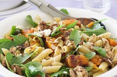 Warm pasta salad with pumpkin, spinach and feta recipe! GONNA COOK THIS TOMORROW NIGHT YAy