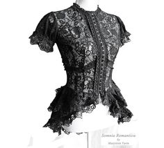 "The Goth Aesthetic: ""Korinthe"" Black Lace Neo-Victorian Blouse by Somnia Romantica Victorian Blouse, Victorian Fashion, Neo Victorian, Gothic Mode, Gothic Lolita, Alternative Mode, Alternative Fashion, Everyday Goth, Romantic Goth"