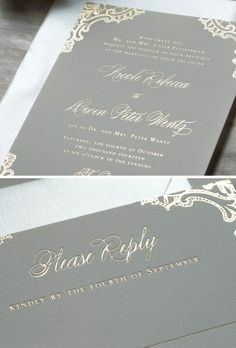 Simply beautiful #weddinginvitation #set designed  by @droletpaperie1 #greyandgold #embossed #invitation #letterpress #foilpressed #lace #detail See more here: http://droletpaperie.com/blog/