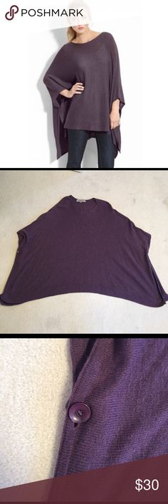 Purple Poncho Gorgeous purple poncho! Perfect condition! Purple buttons to close arm holes and has slits up both sides remain Jackets & Coats Capes