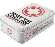 Retro FIRST AID EMERGENCY USE ONLY - RECTANGULAR Storage TIN Cookie BISCUITS Jar