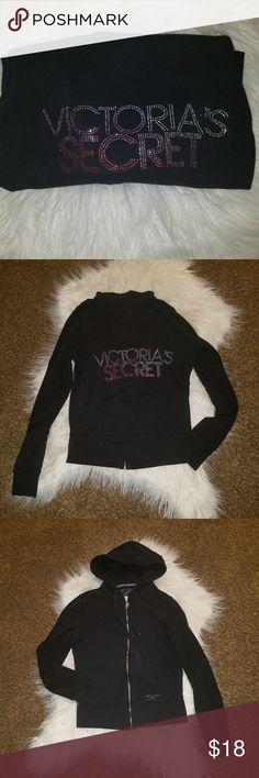 29e1b87ff8 Victoria s Secret hooded sweatshirt Black Victoria s Secret hooded  sweatshirt with sparkly rhinestone writing on back.