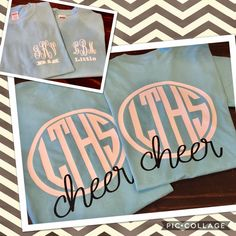 Monogrammed big/little sister cheer shirts Cheer Coach Shirts, Dance Team Shirts, Cheerleading Shirts, Cheer Coaches, Cute Cheer Shirts, Cheerleading Stunting, Volleyball Drills, Volleyball Quotes, Cheer Sister Gifts