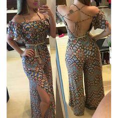 Wholesale Vintage Printed Short Sleeve Backless Side Slit Wide-Leg Jumpsuit For Women Only $9.45 Drop Shipping   TrendsGal.com
