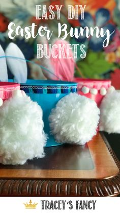 Looking for a last minute Easter project? These DIY Easter Bunny Buckets are easy and ADORABLE! - By Tracey's Fancy Easter Craft Stick Crafts, Decor Crafts, Easy Crafts, Easy Diy, Easter Projects, Easter Crafts For Kids, Easter Gift, Whimsical Painted Furniture, Easter Buckets