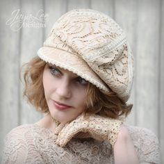 Vintage Lace Slouchy Newsboy Cap by Jaya Lee Designs. I spent many hours carefully crafting this lovely hat for my Heirloom collection. The