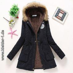 5432b67e7d6bd Gefütterte Winterjacke Kapuzenmantel für Damen Schwarz