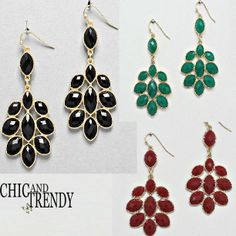 CHUNKY CHANDELIER EARRINGS TO GO WITH ALL YOUR NECKLACE SETS!!CHIC & TRENDY