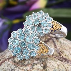 Madagascar Paraiba Apatite J-Hoop Earrings in 14K Yellow Gold and Platinum Overlay Sterling Silver (Nickel Free)