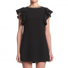 """""""A"""" shaped dress with voilant on the armholeembellished with chain embroidered by hand on the neckline on the front. http://shop.mangano.com/en/dresses/16357-abito-kerry-nerocatena.html  #dress #chains #fashion #apparel #clothing #woman #black #mangano"""