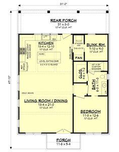 Modern Farmhouse Plan: 1,070 Square Feet, 2 Bedrooms, 1 Bathroom - 041-00239 Cottage House Plans, Bedroom House Plans, Cottage Homes, Barn Apartment Plans, Best House Plans, Small House Plans, House Floor Plans, Modern Farmhouse Plans, Farmhouse Design