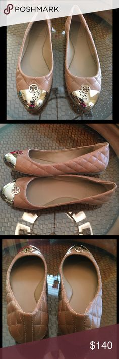 💥Tory Burch Kaitlin Ballet Flats💥 Quilted leather upper. Gold-tone metal toe cap with logo detail. Leather lined. Leather sole. Made in Brazil. No Tory Burch Shoe Box Included. Retail: $275.00 Tory Burch Shoes Flats & Loafers