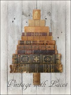 Book Spines Christmas Tree...how fun if you could find old worn out books that related to Christmastime