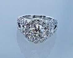 5.45 CTW Halo Desighn Diamond Engagement Ring Ladies Round Cut Appraisal $54,000 #Halo #SolitairewithAccents