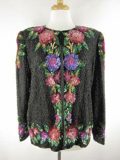 Vtg 80s Laurence Kazar FLORAL Silk Beaded SEQUIN Tux TROPHY Jacket Large L