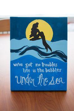 Katie The Little Mermaid Under the Sea canvas by DesignsByAlyssaa Disney Diy, Disney Crafts, Disney Stuff, Mermaid Under The Sea, The Little Mermaid, Mermaid Room, Mermaid Canvas, Mermaid Bathroom, Disney Canvas