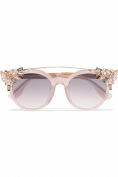 3cf101a01740 Jimmy Choo - Vivy s Round-frame Embellished Acetate And Gold-tone Sunglasses  - Pink