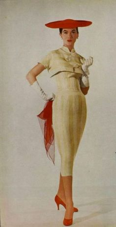 Jacques Fath 1956 Dress and Bolero Jacques Fath, Vintage Glamour, Vintage Vogue, Dior, Guy Laroche, 1950s Fashion, Vintage Fashion, Vestidos Pin Up, Vintage Dresses
