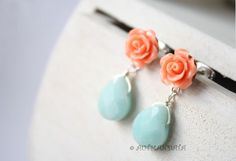Retro  inspired orange blue drops, 925 sterling silver earrings posts. €24,00, via Etsy.