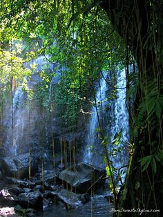 A private waterfall at an eco retreat in Tabanan Bali