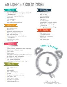 Appropriate Chores for Children age 2-13+ years old