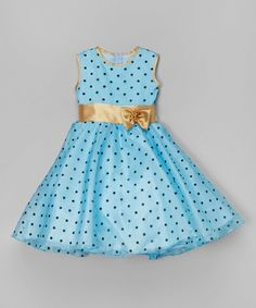 Kid Fashion Blue & Gold Polka Dot A-Line Dress - Toddler | zulily