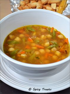 Spicy Treats: Mixed Veg N Chickpeas Clear Soup