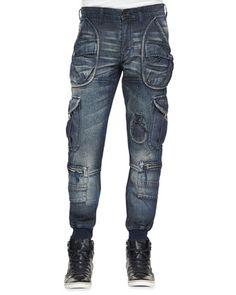 "PRPS* ""Ammi"" Cargo Denim Jeans, Indigo"