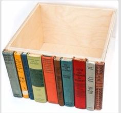 Glue Old Book Spines To A Wooden Box For A Hidden Storage Place On A Bookshelf.