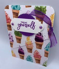 Kards by Kadie: Ice Cream Gift Card Holder Wine Down Wednesday, Ice Cream Set, Make A Gift, My Stamp, Little Gifts, Cute Gifts, Note Cards, Holiday Gifts, 3 D