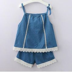 Cute Girls Clothing Sets Summer Casual Print Kids Clothing Sets Sleeveless Chiffon T-shirt Shorts New Children Girls Suit Toddler Outfits, Kids Outfits, Baby Outfits, Baby Girl Dresses, Baby Dress, Stylish Baby Clothes, Baby Frocks Designs, Baby Clothes Patterns, T Shirt And Shorts