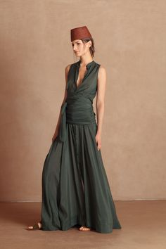 7c722a858f93e Transformable long dress in a mixture of cotton