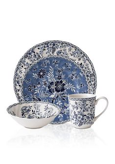 Johnson Brothers Devon Cottage Dinnerware 4 pc Place Setting Blue And White Dinnerware, Blue Dinnerware, Stoneware Dinnerware, Johnson Brothers China, Johnson Bros, Tabletop, Devon Cottages, Casual Dinnerware, English Country Style