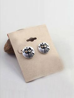 #Black #Cat #Gem #Glaze #Stud #Earrings