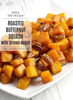 Roasted Butternut Squash with Brown Sugar and Pecans by The Toasty Kitchen #butternutsquash #squash #fall #recipe #sidedish #brownsugar #pecans #roasted Nut Recipes, Side Dish Recipes, Fall Recipes, Potato Vegetable, Vegetable Recipes, Recipe Maker, Thanksgiving Dinner Recipes, Best Comfort Food, Roasted Butternut Squash