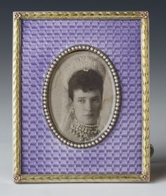 Faberge frame with a photograph of Tsarina Marie Feodorovna